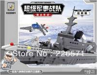 Without Original Box Ausini C22001 697Pcs 3D DIY building block sets eductional bricks blocks children toys Military Cruise ship