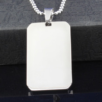 free shipping products necklaces pendants for jewelry making Men's Stainless Steel Pendant Blank, Oblong Dog Tag Logo Printing,