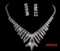 2013 Love Token 2013 Wedding Dress Elegent Jewelry Bride Silver Charming Necklace+Cute Earring Big Pendant Crystal Chain HSL016