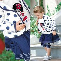 New Fall Girls Preppy School Outfits Sets Coat Shirt Legging Dress 3pcs Suits