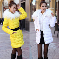 FREE SHIPPING 2013 autumn and winter medium-long down cotton-padded jacket women's wool collar slim wadded jacket outerwear