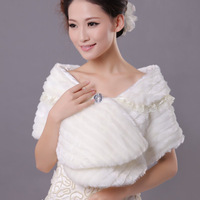 Wedding wrap formal dress bride cape formal dress cape winter bride thermal pj36 fur shawl