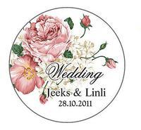 Free Shipping Personalized Flower Wedding Round Favor Stickers/Wedding Decoration/Garden Supplies(Set of 90)