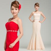 2013 red bridal evening dress evening dress formal dress long design bridesmaid dress evening dress