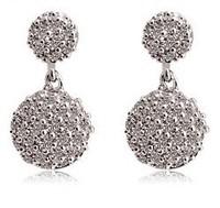(Minimum order $ 10) 2014 new Fallen AAA Cubic Zirconia jewelry Earrings 18K white gold plating wholesale copper