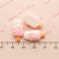 Wholesale Free shipping! kawaii flatback resin cabochons 8 colors  diy phone decoration craft Ice cream resin Size10*20mm