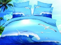 Free shipping Skin-friendly bedding 3d oil painting reactive print bedding set piece seagull