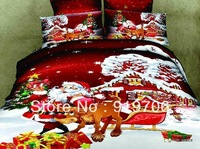 Hot New Beautiful 100% Cotton 4pc Doona Duvet QUILT Cover Set bedding sets Full Queen King size 4pcs cartoon christmas gift red