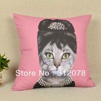 45*45 CM Retro Vintage Audrey Hepbum Cat Queen Lady Face Microfiber Dakimakura Throw Cushion Pillow Cover  Pillowcase