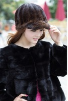 free shipping lady fashion winter fur hat 100% luxury  genuine mink hair cap 2013 fashion trend visors
