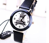 High Quality Fashion Eiffel Tower Women Ladies Black Leather Belt Watch New White Dial Sports Quartz Analog Wrist Watches Free