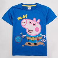 FREE SHIPPING C4033# BLUE18m/6y 5pieces /lot tunic top  peppa pig t-shirt with embroidery boy short sleeve