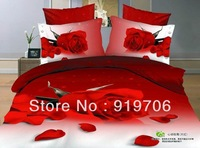 Hot New Beautiful 100% Cotton 4pc Doona Duvet QUILT Cover Set bedding sets Full Queen King size 4pcs nice  red rose flower