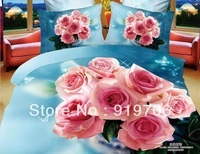 Hot New Beautiful 100% Cotton 4pc Doona Duvet QUILT Cover Set bedding sets Full Queen King size 4pcs nice blue pink rose flower