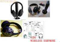 for MP3 PC TV CD AUDIO 5 in 1 wireless earphone+Free Shipping +tracking number +retail package