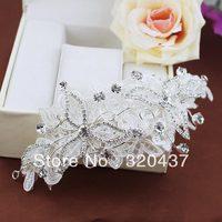 Bride wedding veils hair accessory pearl formal dress wedding patches diamond princess white flower trims18*6cm