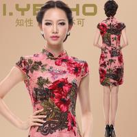 2013 summer silk cheongsam toadyisms married vintage formal dress fashion mulberry silk cheongsam