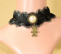 New Fashion All-match Black Lace Necklace Female Bear Imitate Pearl Short Necklace Masquerade Party Free Shipping