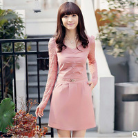 2014 autumn women's clothing fashion casual Slim long sleeve career dress lovely temperament bottoming