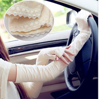 new arrive! Korean style Anti-UV sunshade long gloves half-finger lace gloves for wowen