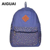 Free Shipping 2013 Korean Women girl lady Boys Fashion Vintage Cute Flower School Book Campus Bag Backpack Heigh Quality