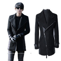 Men's overcoat 2013 autumn jacke winter fashion long patchwork trench male slim plus size cotton woolen outerwear overcoat