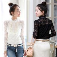 2014 women's clothing new Women Korean princess lace high collar bottoming shirt female Shi Leisi