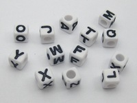 500 Pcs Assorted Black in white Alphabet Letter Acrylic Cube Pony Beads 6X6mm ZX011