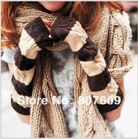 South Korea han2 ban3 knitting wool gloves female winter warm color stripe arm set long gloves