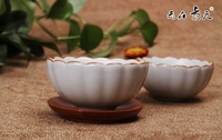 free shipping2 pacs chinese Ru Kiln elegant  flower Tea Cups Zen  cup for tea good quality