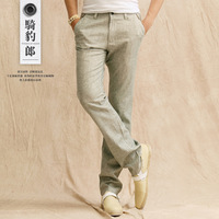 2013 New men's linen pants casual linen straight trousers plus size