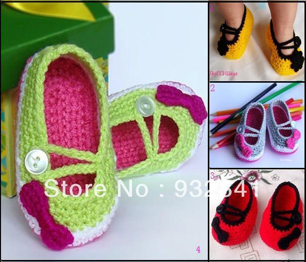 35%off Cute bow crochet shoes. Mary Jane toddler shoes handmade. Discount shoes 5pair/10pcs(China (Mainland))