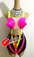 Fashion beyonc gaga ds dj neon multicolour tapered type style clothing