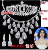 Gift(Bracelet+ring)3pcs/set Korean Tire Crown Wedding Dress Wedding Earrings suit Shiny Crystals Charming Jewelry HSL026