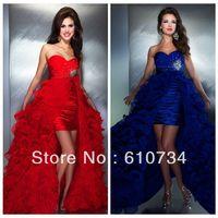 2014 Sale Vestido De Renda Pt04 Cheap New Arrival Red/royal Elegant Low Ruffled Prom Gown Detachable Skirts Quinceanera Dresses