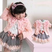 Female child 2013 spring and autumn flower lace 100% cotton long johns princess dress set 2 piece set