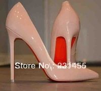 Free Shipping Newest Fashion Nude Patent Lether Pigalle Pumps 120MM Shoes Brand New In Boxs