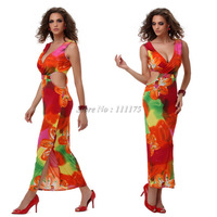 New Arrival Hot Sexy Backless And Wasit Hollow Novelty Printed Dress Long For Women Summer Tank Maxi Beach Dress 4202
