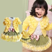 2013 autumn high quality flower kid's skirt piece set 1 2 - - - 4 3