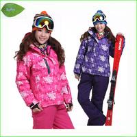 KS02W Two pieces sport suit female outdoor sport suit women winter ski snow suit top hoodie jacket