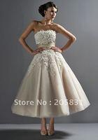 New! Wholesale ! A-line Strapless Tulle Tea Length Wedding Dresses OT2890