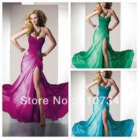 E0825 Cheap Seetheart Off Shoulder A-line Colorful Green/Blue Long Chiffon Evening Dresses