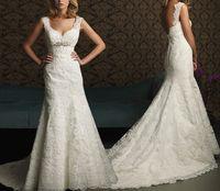 New Fashion Free Shipping Alencon Lace Ivory Mermaid Train Backless Wedding Dresses OT2030