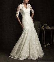 2013 New Fashion V-neck Mermaid Long sleeve Lace Royal Wedding Dresses KD2013
