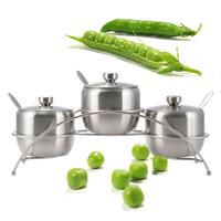 Victorias Fashion Stainless Steel 3 Seasoning Jar Dinnerware, salt cellar, sugar can, free shipping