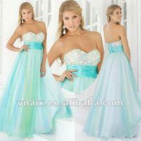 Vnaix P0056 2012 Beaded Sweetheart Light Blue Long Prom Dress