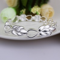 Hot Sell!Wholesale Sterling 925 Silver Bracelet,925 Silver Fashion Jewelry,Cute Leaf Lobster Clasp Bracelet SMTH327