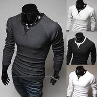 Male color block decoration neckline slim long-sleeve T-shirt Free shipping    9357