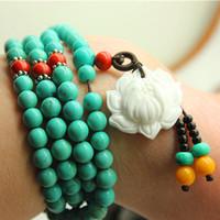 Limited natural raw ore turquoise 108 fozhu rosary bracelet women's bracelets agate beads
