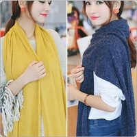 Cashmere Scarf Women Winter Warm Knit Hood Solid Colors Long Neck Warmers Scarf Christmas Gifts C1055